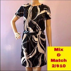 BCBGMaxazria Black/White Dress, Size XS